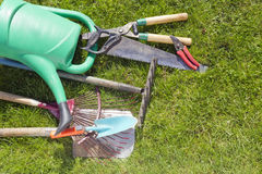 Used old garden tools background Stock Image