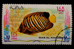 Used old stamp with fish1 Royalty Free Stock Photography