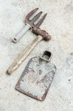 Used old tools on cement background Royalty Free Stock Images