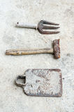 Used old tools on cement background Royalty Free Stock Photography