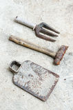 Used old tools on sement background Stock Images