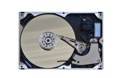 Used open computer hard drive isolated royalty free stock photo