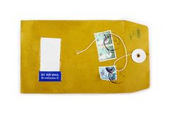 Used open paper envelope with postage stamps Royalty Free Stock Photography