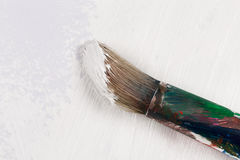 Used paint brush in white color Royalty Free Stock Photo