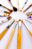 Used paint brushes Royalty Free Stock Photos