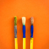 Used paint brushes Royalty Free Stock Photo