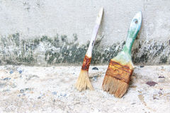 Used paint brushes. With size 63mm.2-1/2 in and 19 mm(3/4 in Stock Photos