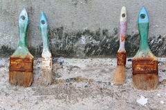 Used paint brushes. With size 63mm.2-1/2 in  25 mm(1 in) and 19mm.(3/4 in Royalty Free Stock Photos