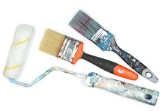 Used paint roller and brushes Royalty Free Stock Images