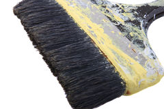 Used paintbrush. Paintbrush with dried yellow paint, on white background Stock Image