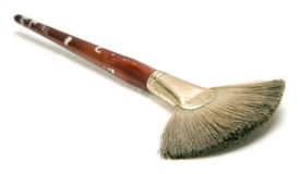 Used Paint Brush. A used paintbrush  on white background Royalty Free Stock Photography