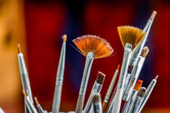 Used paintbrushes closeup Royalty Free Stock Photography