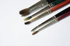 Used paintbrushes isolated on white background Royalty Free Stock Image