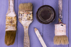 Used paintbrushes Stock Photos