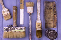 Used paintbrushes Stock Photo