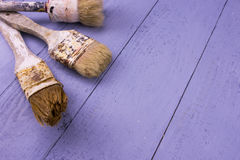 Used paintbrushes Stock Images