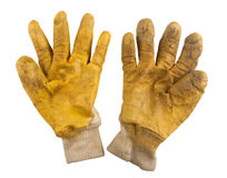 Used pair of working yellow gloves. Used pair of gardening yellow gloves isolated on white background Stock Images