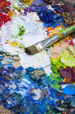 Used pallette for painting background Stock Photography