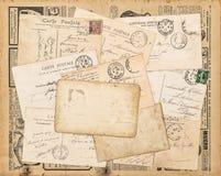 Used paper background Vintage postcards handwritten letter. Used paper background. Vintage postcards. Old handwritten letter stock photo