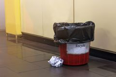 Used paper in the black waste bin,recycle in the control room,wa Royalty Free Stock Photography