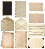 Used paper sheets set. Vintage book pages, photo frames, envelop Stock Photo