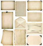 Used paper sheets set. Vintage book pages, photo frames, envelop Royalty Free Stock Image