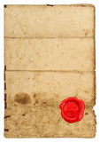 Used paper texture edges Worn paper sheet red seal. Used paper texture with edges. Worn paper sheet and red seal on white background stock image