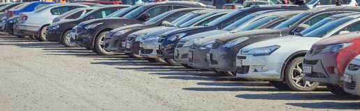 Used parking cars. Used car parking on the city street Royalty Free Stock Images
