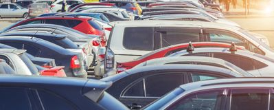 Used parking cars. Used car parking on the city street Royalty Free Stock Photos