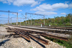 The used part of the railway and repaired site. The used part of the railway is located near to the repaired site Royalty Free Stock Photo