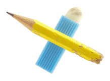 Used pencil and eraser Royalty Free Stock Photo