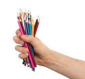 Used pencils in hand isolated Royalty Free Stock Image