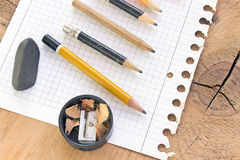 Used pencils and paper Royalty Free Stock Photos