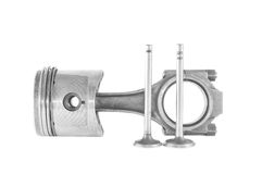 Used piston with a rod and valves isolated. On a white background Stock Photo