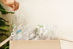 Free Used Plastic Bottle In The Box, Recycling Plastic Utilisation Concept. Ecological Problem, Environmental Pollution. Close Up Royalty Free Stock Photography - 179744797