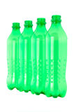 Used plastic green bottles Stock Photos