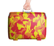 Used plastic suitcase with stains and scratches Royalty Free Stock Photo