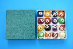 Used pool billiard balls with numbers box on blue Stock Images