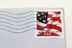 Used postage stamp. Detailed shot of a used postage stamp Royalty Free Stock Photos
