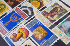 Used postage stamps. Collection of postage stamps from a variety of countries stock photography