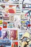 Used postage stamps collection background Royalty Free Stock Photography