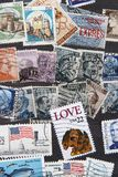 Used postage stamps collection background Stock Photography