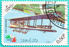 Used Postage stamps with printed in laos shows plane Royalty Free Stock Image