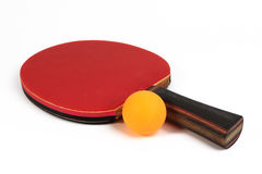 Used racket and ball for playing table tennis. Stock Images