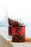 Used red and magenta incense sticks in a temple Malaysia Royalty Free Stock Photo