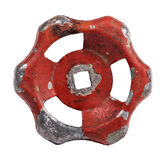 Used red metal valve part Stock Photos