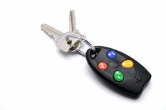 Used remote control house keys chain for activate security alarm. Used remote control house or car keys chain for activate security alarm stock photos
