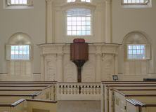 Used during the Revolutionary War, Old South Meeting House. Alter at the Old South Meeting House Boston MA.  Church was desecrated and used by the British as a Stock Photo