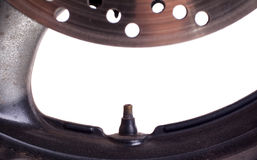Used rim of a motorcycle, selective focus Stock Images