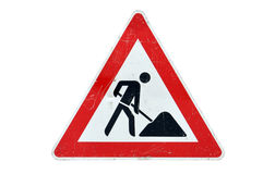 Used road works sign Stock Images